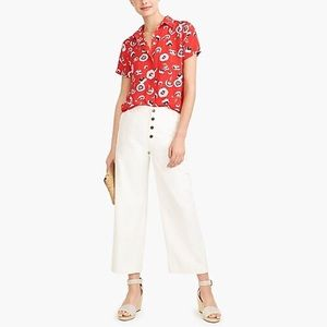 J. Crew Factory Bechlet Floral Dark Poppy ButtonUp